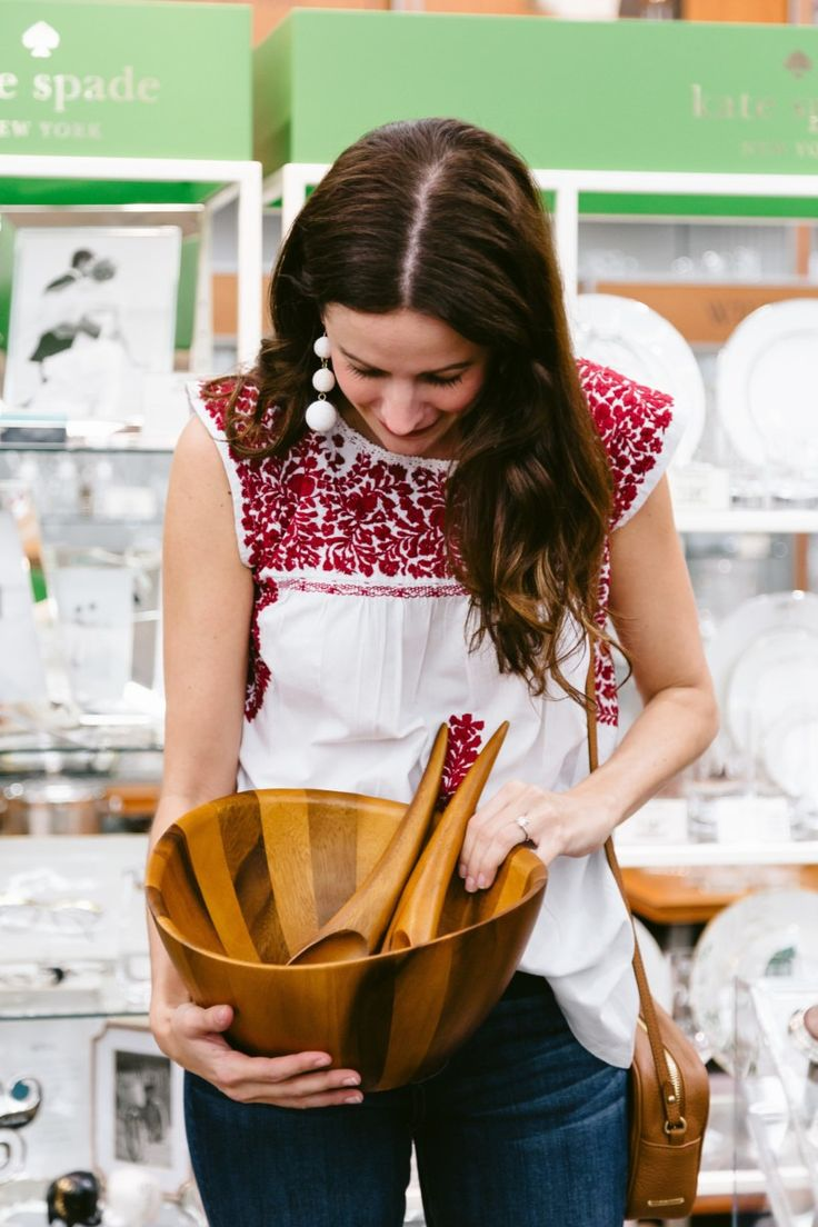 bed bath and beyond wedding invitation kits%0A Amanda Miller holding a Nambe Salad Bowl from her Bed Bath  u     Beyond wedding  registry