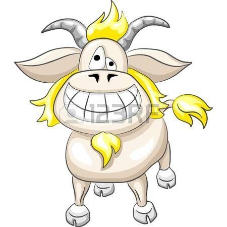 Grappige cartoon geit glimlach die op de witte achtergrond. Stockfoto - 12029505