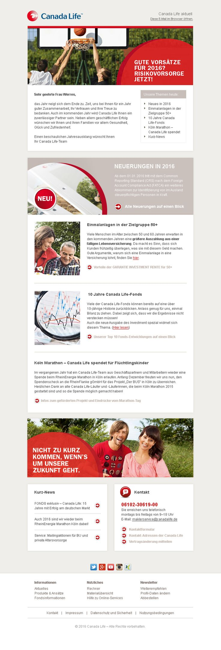 Unser Newsletter Design für ein erfolgreiches E-Mail Marketing für die Canada Life Assurance Europe Limited. #Newsletterdesign #Email-Marketing #Newsletter