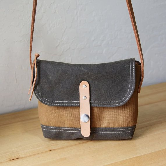 Mini Snap Satchel // Stone Waxed Canvas, Cinnamon Brown Cotton and Leather