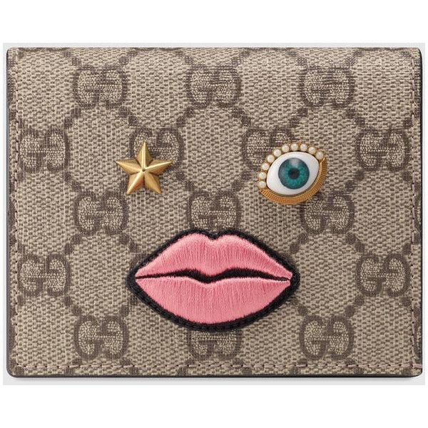 Gucci Card Case With Embroidered Face (870.155 COP) ❤ liked on Polyvore featuring bags, wallets, pink, star wallet, credit card holder wallet, canvas wallet, gucci wallet and pocket bag