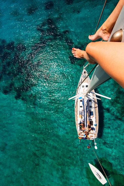 Woah... I think I would even be scared by this! I'm impressed by anyone who can sit on the beam of a sailboat this high up.