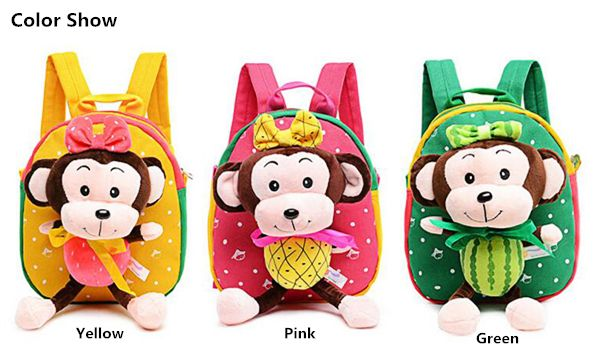 Kindergarten Kids Lovely Monkey Cartoon Animals Plush Backpack Soft Light School - US$11.55