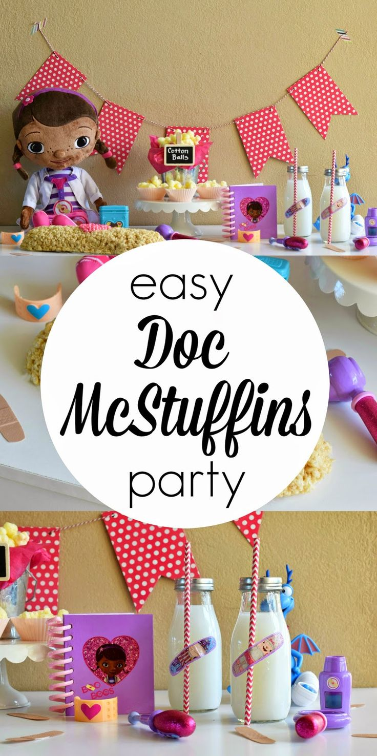 Yes Please!  A VERY easy to whip up Doc McStuffins party complete with bandage shaped cake!