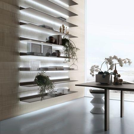 Rimadesio EOS | wandmeubel, glazen legplanken, stellingkast | RIMADESIOSHOP.COM  !!! Licht vanachter de rekjes laten komen