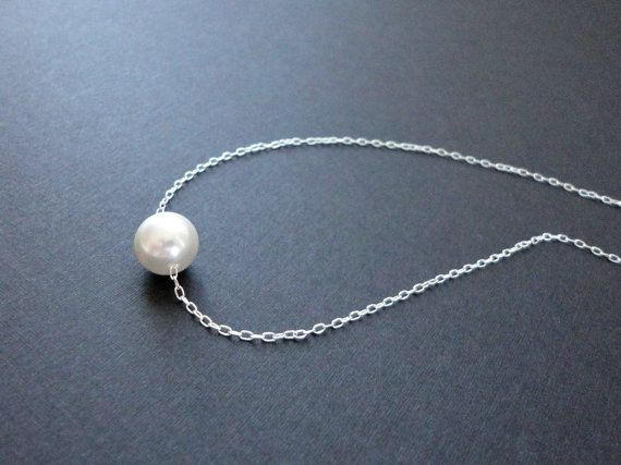 Silver single pearl necklace Floating pearl necklace by KeyYoung, $19.00