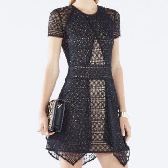 """NEW BCBG MAXAZRIA Black """"Aileen"""" Lace Dress BCBG MAX AZRIA RETAIL  $298  Aileen Draped Lace Dress XXS    SOLD OUT!  2015!  Magnificent and unique! Blocked  lace gives this LBD an edgy finish, perfect for night-out chic. Perfect for Cocktail Parties, New Years Eve, girls night, absolutely gorgeous!  PRODUCT DESCRIPTION: Round neckline. Elbow-length sleeves. Sheath silhouette. Banded waistline. Center back zipper closure. Asymmetrical hemline.  SIZE/FIT Hits above the knee. Slight stretch…"""
