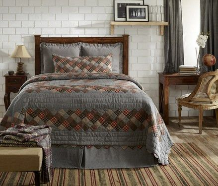 This Beacon Hill Twin Quilt has such a pretty Boston Commons patchwork pattern. The chambray fabric almost gives the look of denim. Matching curtains and accessories sold separately. http://www.primitivestarquiltshop.com/Beacon-Hill-Twin-Quilt_p_9356.html