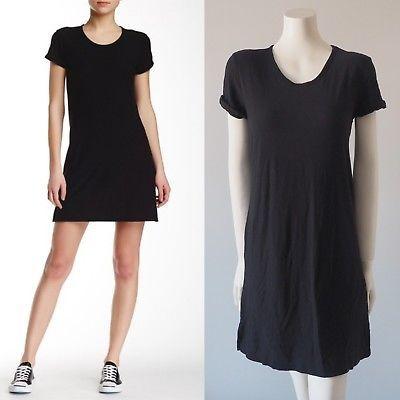 Starndard-James-Perse-Black-Rolled-Sleeve-T-Shirt-Dress-Lined-Side-Slit-Size-2
