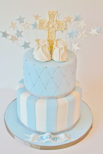 Christening and Baptism Cakes New Jersey - Booties and Cross Custom Cakes