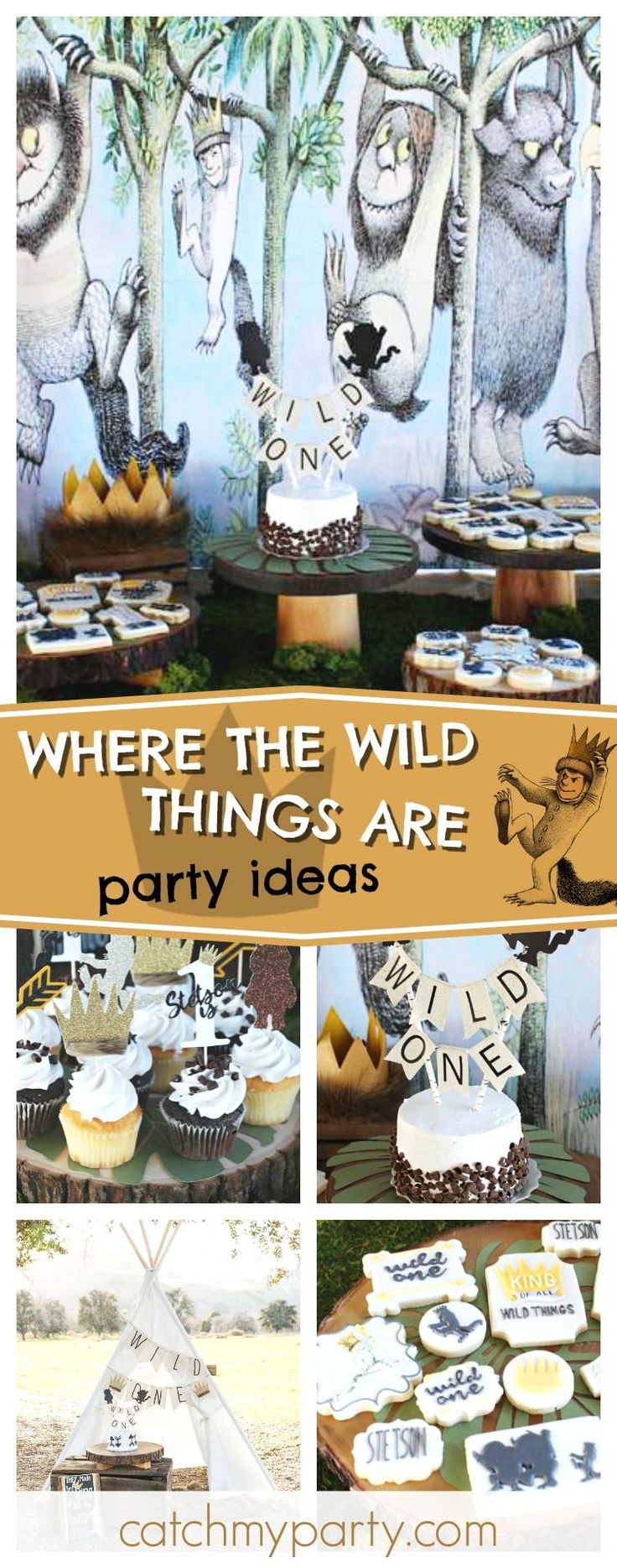 Check out this fantastic Where the Wild Things Are 1st birthday party! The mix of cookies are awesome!! See more party ideas and share yours at CatchMyParty.com #catchtheparty #wherethewildthingare #1stbirthdayparty #wildonebirthdayparty