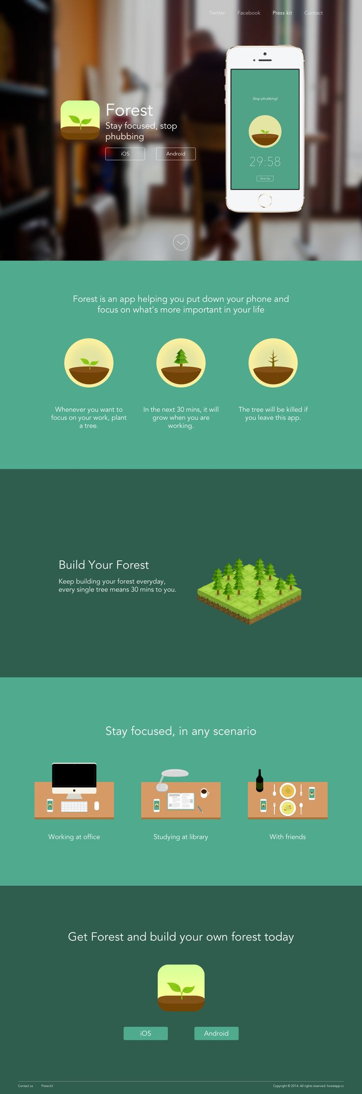 """Forest App, """"Stay focused, stop phubbing"""" #webdesign #app #tool"""