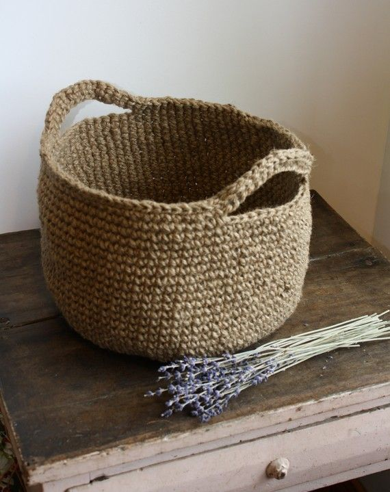 Crochet Twine : Large Jute Basket With Handles by umelecky on Etsy