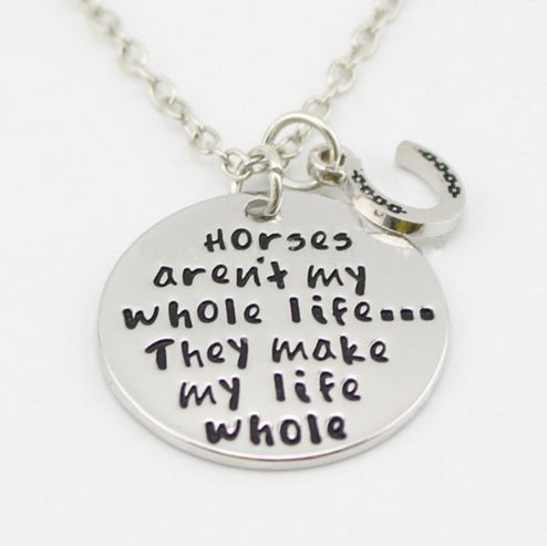 Wear This Beautiful Necklace to Honor Your Horse! Just $9.97 with FREE Shipping while Supply lasts - Pendant Size a little under one inch - Chain Length about 18 inches +- - Zinc Alloy It takes about