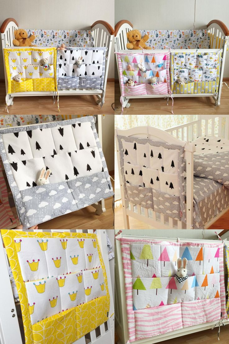 [Visit to Buy] Crown Clouds Tree Fruits Baby Cot Bed Hanging Storage Bag Cotton Crib Organizer,Toy Diaper Pocket for Crib Bedding Set 52*58cm #Advertisement