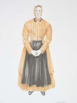 Pentekening/airbrush voorstellende de zondagse dracht van een vissersvrouw omstreeks 1900, Vlaardingse klederdracht, oranje jak, zwart voorschoot, halsketting met 3 snoeren en slot, witte kanten muts, oorijzer met goudkleurige krullen en mutsenbellen. Door Leo Man in 't Veld, datering 2003  #ZuidHolland #Vlaardingen