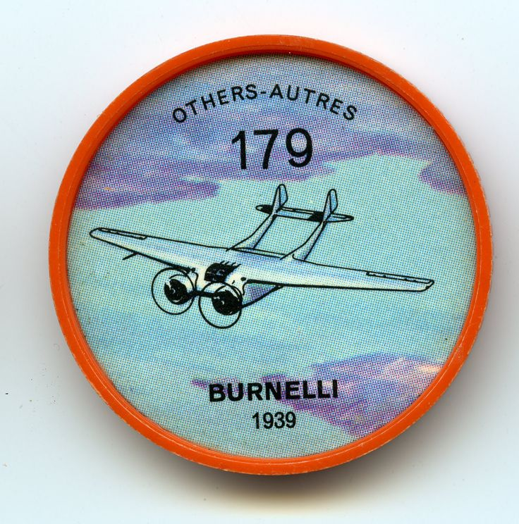 Jell-O Coin 179 - Burnelli (1939) - A novel Canadian design incorporating many advanced techniques was the twin-engine, long-range Burnelli Loadmaster transport. It was, in many ways, a flying wing because much of the lift was provided by a wide, cleanly designed fuselage. Only one proto-type was built. The type never went into production. Specifications: Wingspan 86 feet. Length 54 feet, 6 inches. Weight 28,500 pounds. Speed 230 mph. Range 2,200 miles.