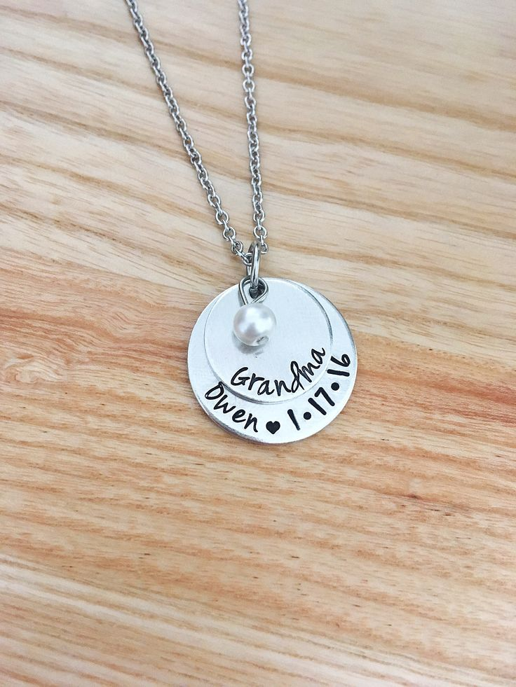 Excited to share the latest addition to my #etsy shop: New Grandma Mimi Memaw Bubbe Nana Necklace Jewelry - Personalized Christmas gift for Grandma - Hand Stamped Jewelry - Stacked Necklace