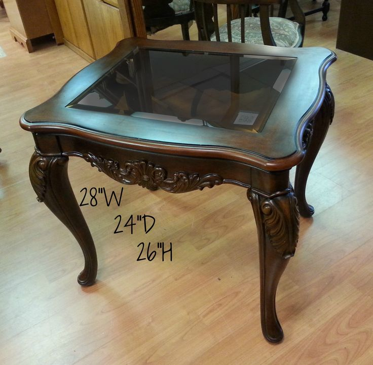 Carved Wood Trim Glass Top End Table! Check out www.dealios.ca for status and price!