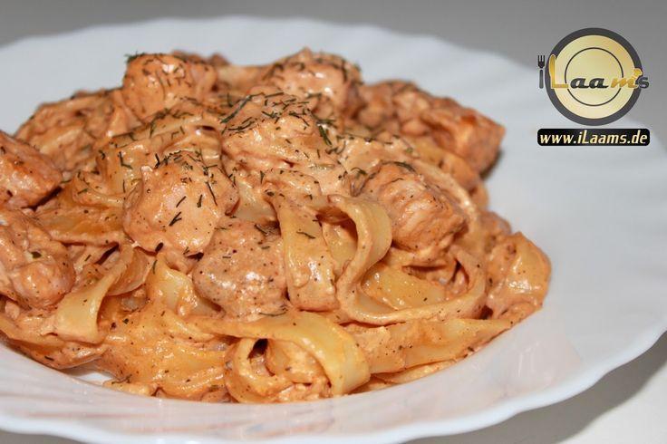 ilaams Koch und Backrezepte. Schritt für Schritt: Tagliatelle mit Lachs & Schmand-Tomatensauce