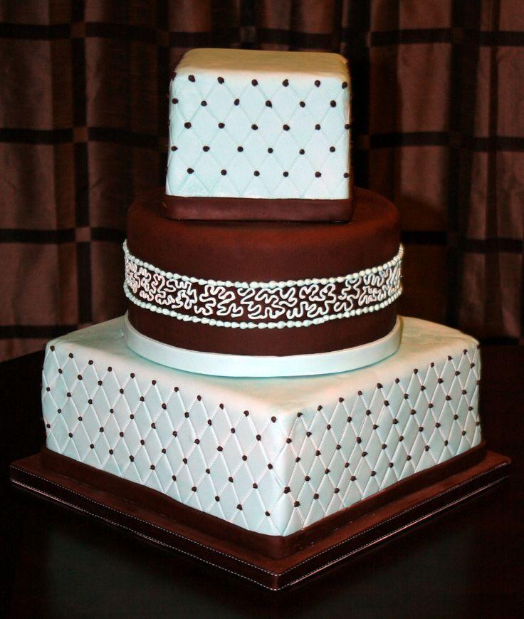 prettyChocolates Cake, Decoratedw Cake, Cake Decor, Wedding Cakes, Design Squares, Brown Wedding, Decor Cake, Brown Boxes, Squares Quilt Wedding Cake