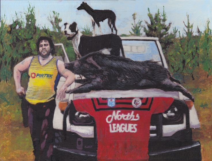 Painting in Acrylic of a friend with his pig dogs and the catch for the day.