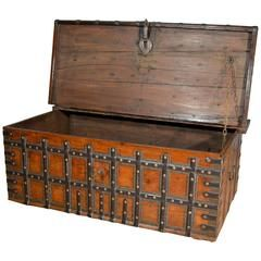 Late 18th Century Brass and Steel Bound Teak Trunk