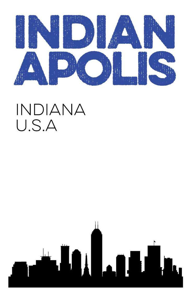 Indianapolis, Indiana City Skyline Digital Print. 11x17 Poster.