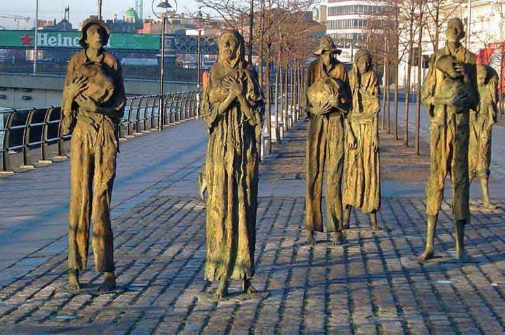 Memorial to those who died in the Great Famine, located beside the River Liffey in Dublin.