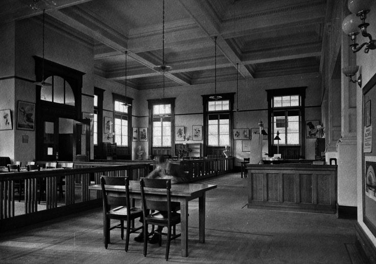 Yorkville Branch - Toronto Public Library - interior photo circa 1909 - notice classical busts in the childrens' area in the corner (see floor plan pin) - lots of art on the walls- possibly Audubon prints?