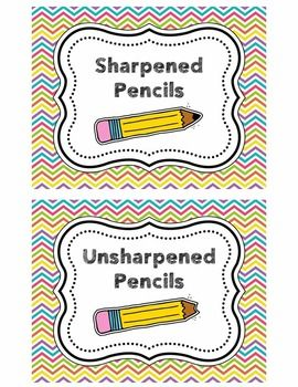 Sharpened/Unsharpened Pencil Bucket Labels