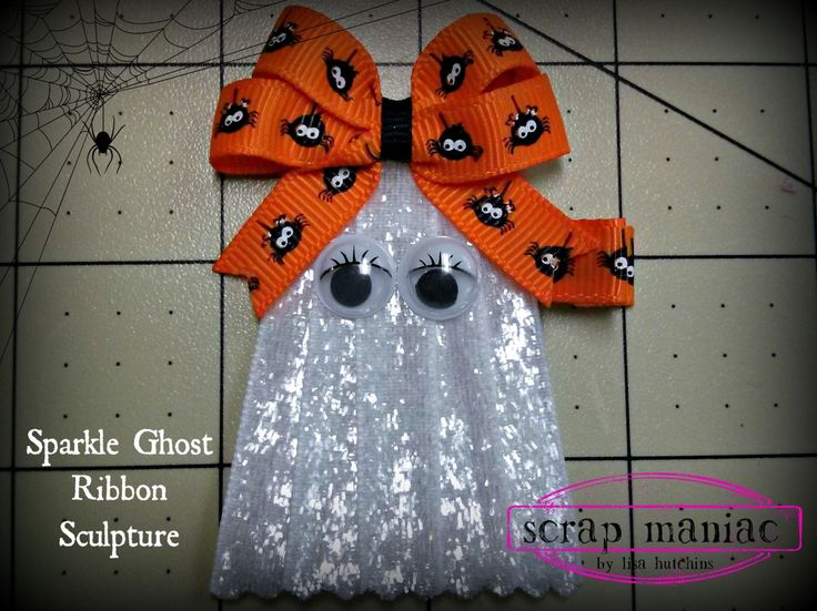 Sparkle Shimmer Ghost Halloween Ribbon Sculpture Hair Clip Hair Bow with Spiders with Googly Eyes and Big Bow on Top on Alligator Clip by ScrapManiacShop on Etsy
