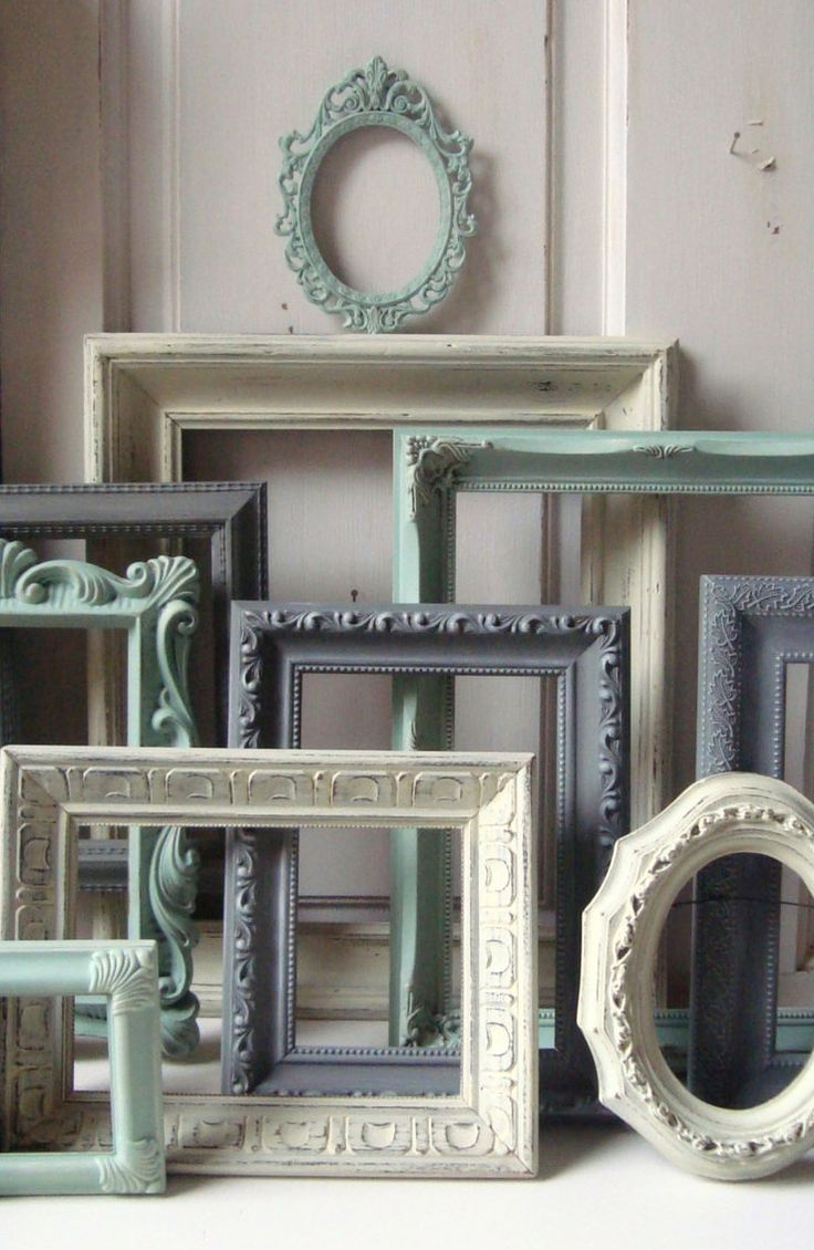 Mint Green and Gray Painted Picture Frames