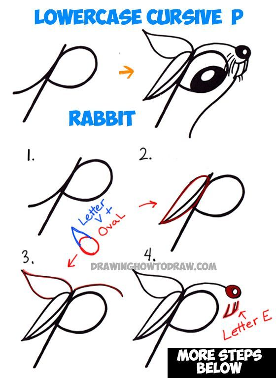 How To Draw Cartoon Bunny Rabbit From Lowercase Letter R