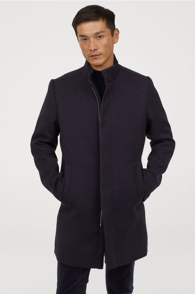 Coat With Stand Up Collar In 2020 Long Coat Men Mens Outwear
