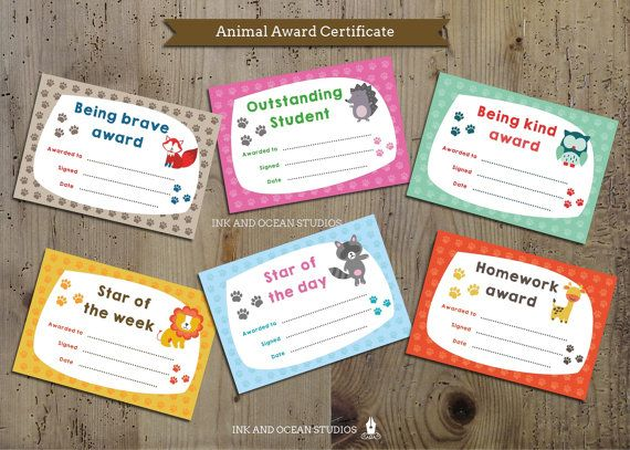 Printable teacher certificate, achievment awards for class, school or home school. Cute Animal theme.