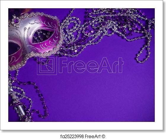 Free art print of Purple Mardi-Gras or Venetian mask on purple background