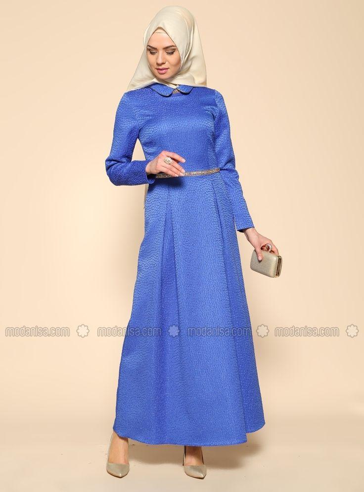 Taş Detaylı Elbise - Sax - Puane