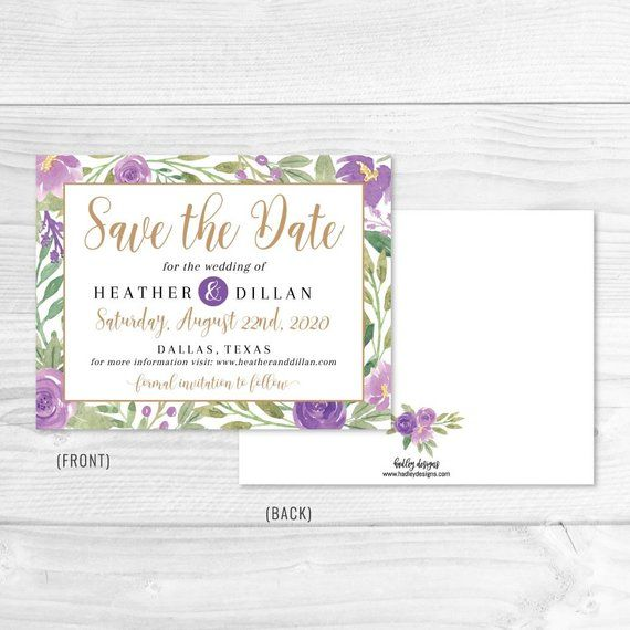 elegant purple floral wedding save the date template save the date