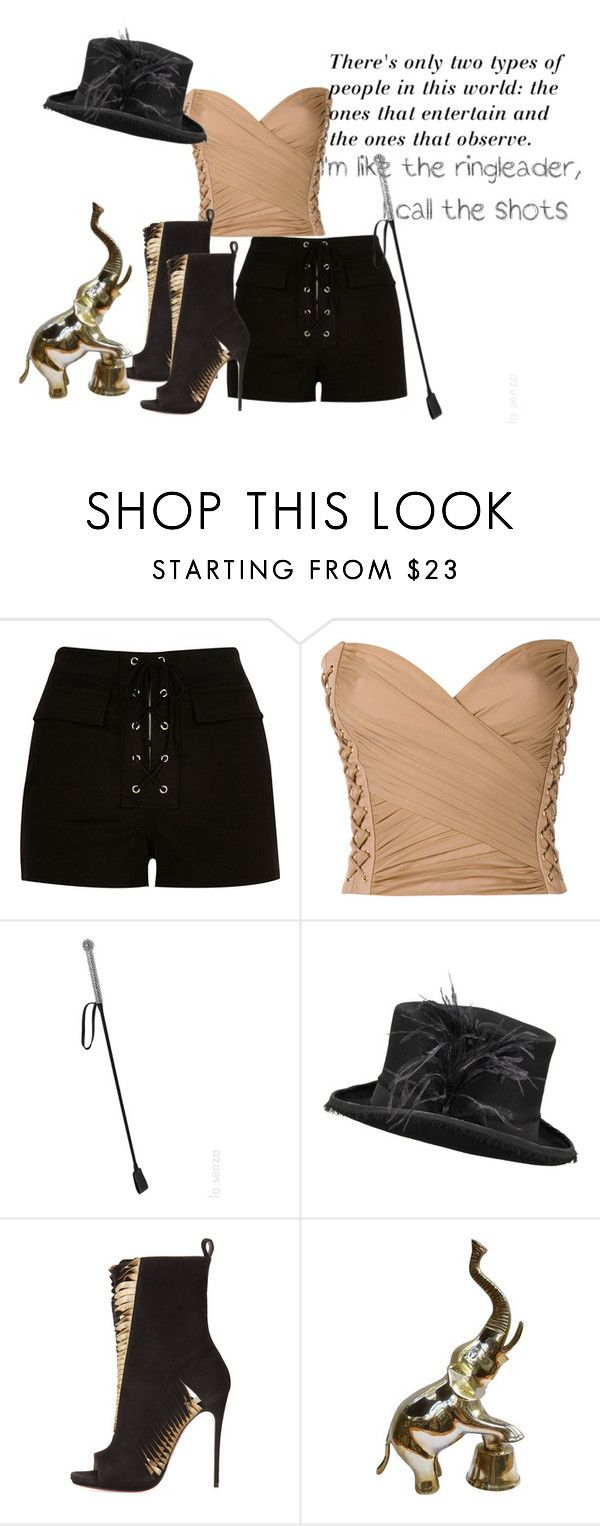 """Circus"" by faeryrain on Polyvore featuring River Island, Balmain, La Senza, Christian Louboutin and Britney Spears"