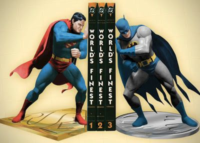 A Batman vs. Superman superhero bookend.
