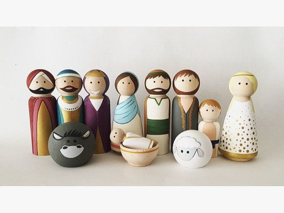 Full Nativity of Peg Dolls Wooden Nativity by ThePaintedPeg