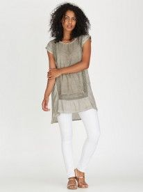 G.COUTURE Border Crochet Tunic Grey