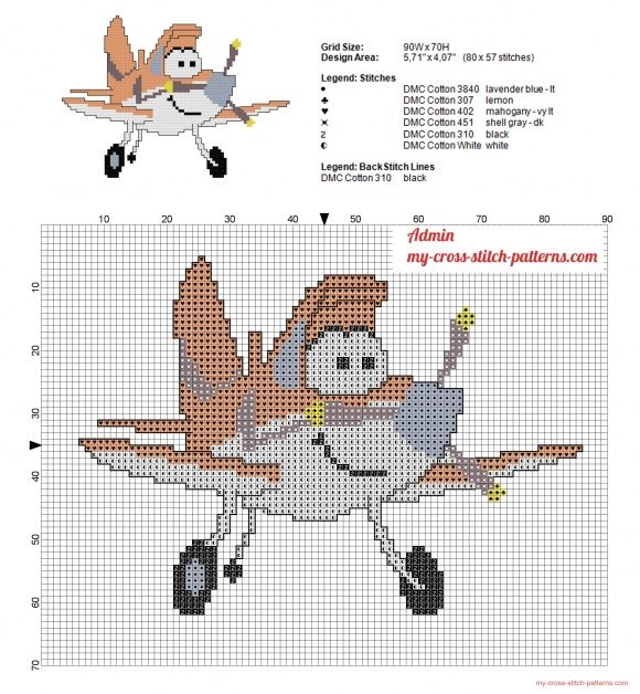 Special Dusty Crophopper Disney Planes cross stitch pattern (click to view)