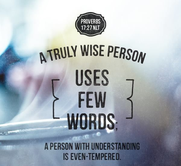Proverbs 17:27 (NLT) A truly wise person uses few... | Faithful In Christ