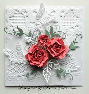 Beautiful White on White Card with paper butterflies & roses.
