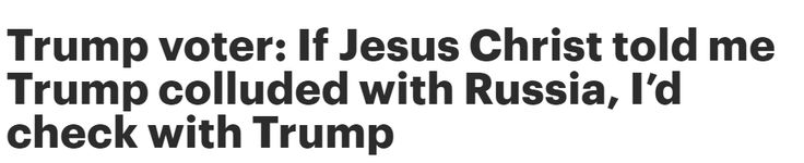 """If Jesus Christ gets down off the cross and told me Trump is with Russia, I would tell him, 'Hold on a second. I need to check with the president if it's true,'"" said Mark Lee, one of six Trump voters to appear on a CNN panel Monday morning.  #Trump #Jesus"