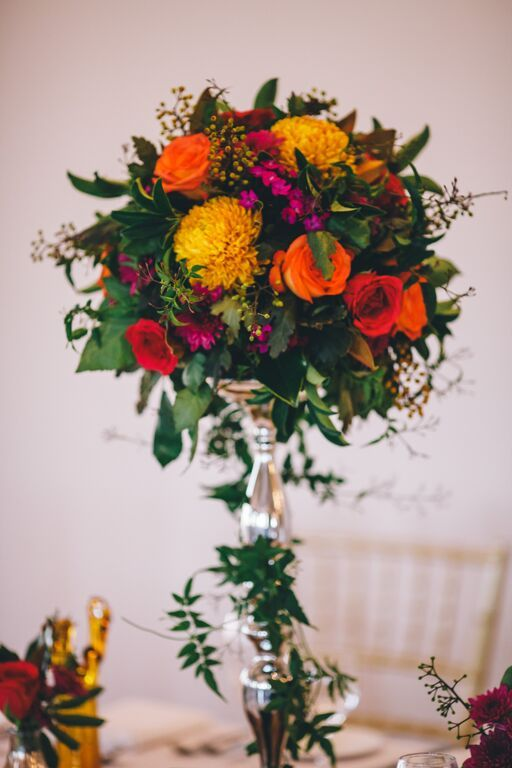 Beautiful blooms as table centre pieces in the Regency Room | Eschol Park House