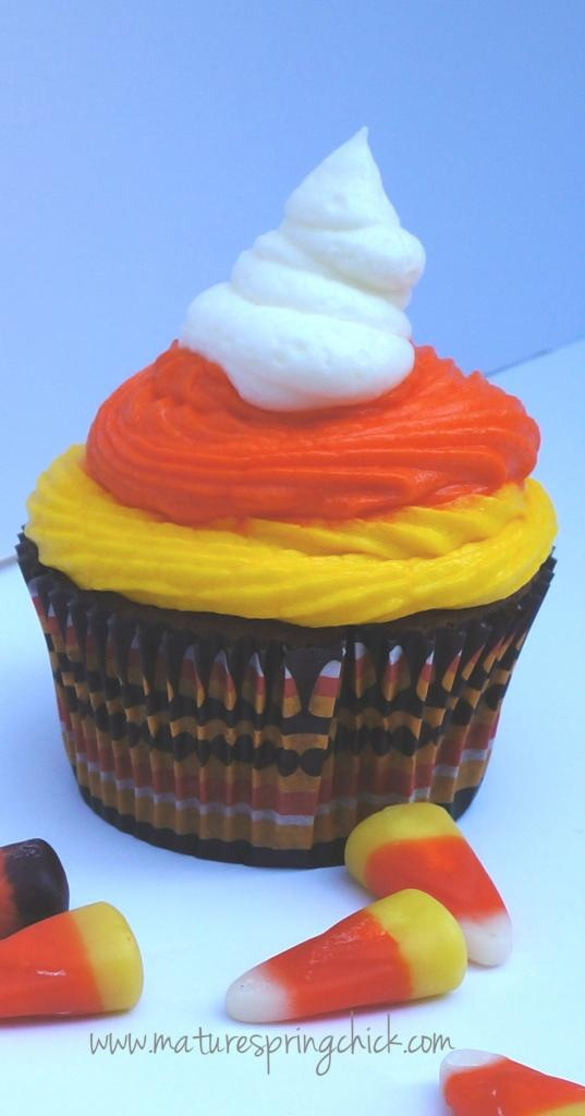 Halloween Chocolate Cupcakes ~~Made with Sour Cream and Hershey's Syrup~~~Topped with Butter Cream Icing