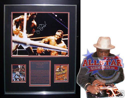 FRAMED-JAMES-BUSTER-DOUGLAS-SIGNED-BOXING-PHOTOGRAPH-v-MIKE-TYSON-SEE-PROOF